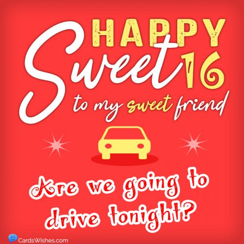 Happy sweet 16 to my sweet friend! Are we going to drive tonight?