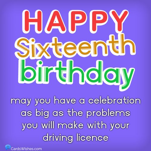 Happy Sixteenth Birthday! May you have a celebration as big as the problems you will make with your driving licence.