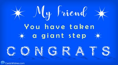 My friend, you have taken a giant step. Congrats!
