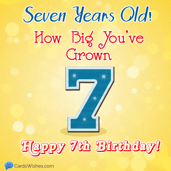 7 years old! How big you've grown! Happy 7th Birthday!