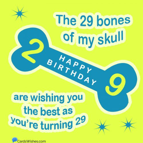 The 29 bones of my skull are wishing you the best as you're turning 29.