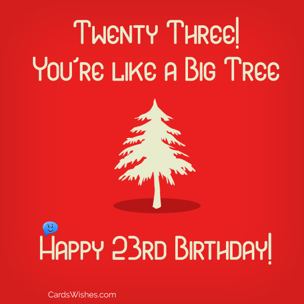 Twenty three! You're like a big tree. Happy 23rd Birthday!