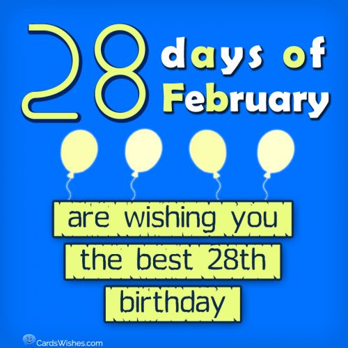 28 days of February are wishing you the best 28th B-day.