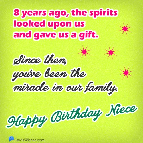 My 8-year-old niece a gift and a miracle in our family. Happy Birthday!